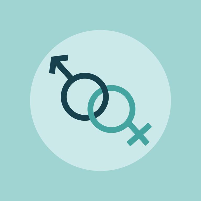 Hormone - Gendersymbole Mann+Frau in türkisem Hintergrund